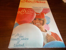 1970 United Airlines Air Atlas Vintage Route Map