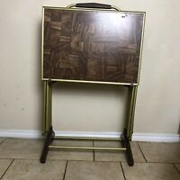 Vintage Set Of 4 Mid Century TV Trays With Rolling Stand Faux Parquet Wood MCM