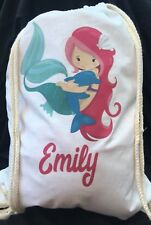 Personalised Childrens Pink Mermaid with Dolphin Gym/ PE/ Dance Bag 100% cotton