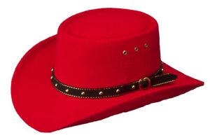 NEW! Western Faux Felt Cowboy Gambler Hat Elastic No Chin Strap S/M L/XL Kid RED