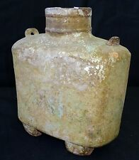 2BC Chinese Han Dynasty Square Pottery Flask w applied Handles- Iridescent (Geo)
