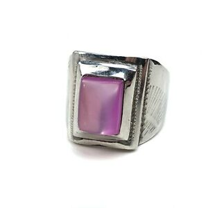 Vintage Stainless steel pink stone signet ring size 11
