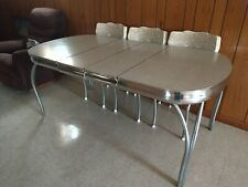 1950's Retro Oval White Top Kitchen Dining Table with Chrome Legs Vintage