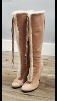 Giusseppe Zanotti Suede/fur Boots Size 37.5 pink and beige