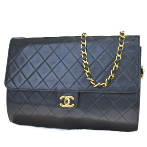 Auth CHANEL CC Matelasse 2Way Chain Shoulder Clutch Bag Leather Black 665LA830