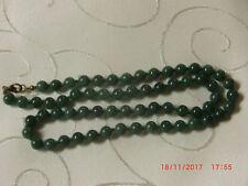 Halskette, Smaragd,  60 cm lang, unbenutzt, Perlen einzeln verknotet, 8  mm