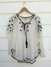 Free People Cream Black Sheer Lace Embroidered Peasant Boho Top Size Small
