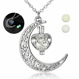 Steampunk Magic Hollow Moon Love Heart Glow In The Dark Pendant Necklace Jewelry