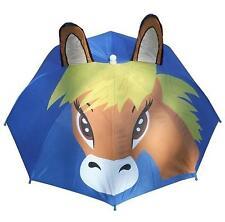 Childrens Caballo Pony intermitente relinchos paraguas Childs cumpleaños regalo de equinos Azul
