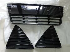 Gloss Black Front Lower Grille Grills Center & Side Kit For Ford Focus 2012-2014