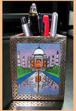 GEMSTONE TAJMAHL (SYMBOL OF LOVE) PAINTING PEN PENCIL HOLDER/STAND FROM INDIA!!