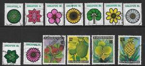 SINGAPORE SG212/24 1973 FLOWERS & PLANTS USED