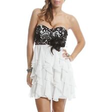 Masquerade White Blk Evening Prom Formal Cruise Short $85 Cocktail Dress size 9