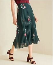 New Ann Taylor Women Green Floral Micro Pleat Chiffon Lined Flowy Midi Skirt 12