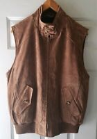 Orvis Womens Medium Leather Suede Vest Brown Zip Up Plaid Lined Hunting Fishing