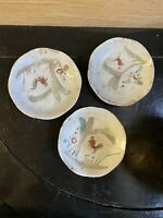 Antique Chinese Small Ceramic Plates Lot Of 3