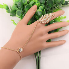 Elegant Women Gold Plated Leaves Ring With Hand Chain Bracelet Bangle