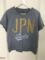 T-shirt SUPERDRY Japan S M 36 wached blue oversizer top tee 8 10