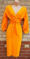BOOHOO NIGHT TANGERINE ORANGE PUFF SLEEVE BELTED WRAP BODYCON MIDI DRESS 10 S