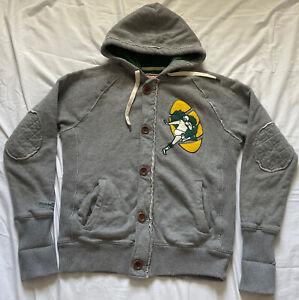 Mitchell Ness Green Bay Packers Gray Full Zip Medium Insulated Hoodie Sweatshirt