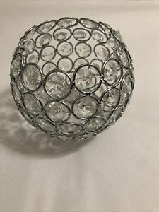 Clear Crystal Bead Candle Holder Bowl Candle Lantern Decoration Silver