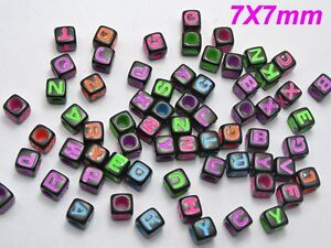 1000 Black Neon Color Assorted Alphabet Letter Cube Pony Beads 7X7mm Crafts
