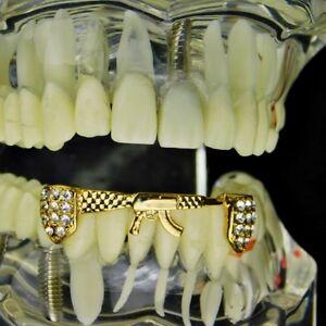 14k Gold Plated AK-47 Rifle Gun Shape Iced Bottom Teeth AK47 Hip Hop Grills