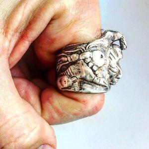 Mens Mexican Mayan Ring. Men's Large Statement Biker Ring | LUGDUN ARTISANS