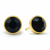 Stud Earrings with Black Jet Round Crystals from Swarovski Gold Plated