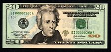 Fancy LOW # Ei00000360A $20 2004 Birth Month / Year note, unc. March 1960 3/60