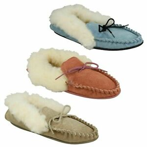 LADIES REAL SUEDE MOCCASIN SLIP ON CASUAL WINTER FAUX FUR SLIPPERS