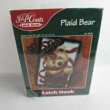 J.&P. Coats 1997 Plaid Bear Latch Hook Rug Kit Christmas # 25519