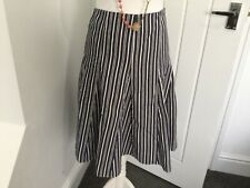 """BODEN Navy White Striped -  Fully Lined Cotton Skirt - Size16L 24"""" Long"""