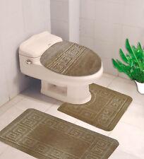 BATHROOM SET EMBOSSED BATH MAT COUNTOUR RUG TOILET LID COVER 3PC #10 TAUPE TAN