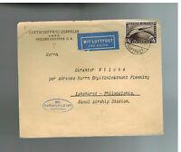 1928 Germany Graf Zeppelin LZ 127 Cover to lakehurst NJ  USA # C37