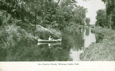 Winona Lake,IN. Fishing on Cherry Creek, A Private Mailing Card 1898