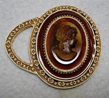 Vintage Florenza Small Brown Profile Cameo Purse Hand Mirror~New Old Stock