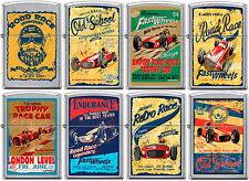 Zippo Old School 1950's Vintage Race Club Posters 8 Lighter Set Street Chrome