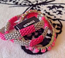 NWT EXPRESS SILVER & PINK 3 PIECE STRETCH BRACELET $26.90 DUST GIFT BAG INC