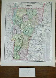 """Vintage 1900 VERMONT Map 11""""x14"""" Old Antique Original BARRE MONTPELIER NEWPORT"""