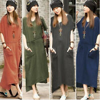Women Short Sleeve Summer Kaftan Baggy Linen Maxi Dress Long Sundress New Pocket