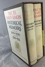 DUC DE SAINT-SIMON HISTOICAL MEMOIRS 2 VOLUME SET  *FIRST THUS*