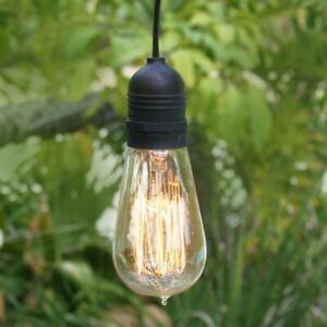 Extra Long 25FT Single Socket Black Weatherproof Outdoor Pendant Light Lamp Cord