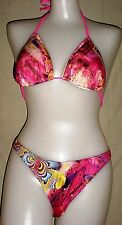 NEW Red Pattern Lycra Bikini Swim Bathing Suit    L