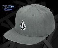 New Volcom V Stone Made Heather Grey Snapback Cap Hat