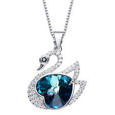 Schwan Halskette Swan Collier Herz Silber mit SWAROVSKI® Kristallen 18KGP Neu