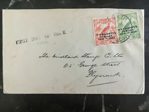 1935 Rabaul New Guinea First Day Cover to England FDC Jubilee Set # 46 47