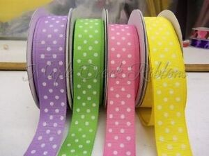 "1yd of Yellow Daffodil 7/8"" Grosgrain Ribbon with White Polka Dots neatly wound"