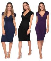 Womens Ladies V Neck Wrap Midi Dress Front Pleated Skirt Top Cap Sleeve Party