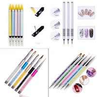 Nail Art Dotting Pens UV Gel Crystal Acrylic Painting Drawing Pen 2-Way Tool